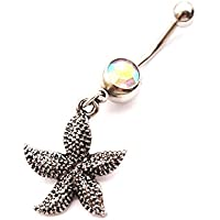 WOWOHE 14g Black Starfish Dangle Belly Button Navel Ring Body Piercing Jewelry