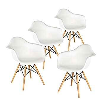 Buschman Set of Four White Mid Century Modern Dining Room Wooden Legs Chairs, Armchairs