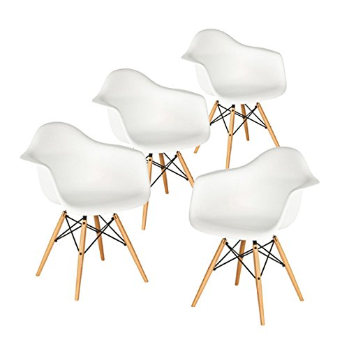Buschman Set of Four White Eames-Style Mid Century Modern Dining Room Wooden Legs Chairs, Armchairs