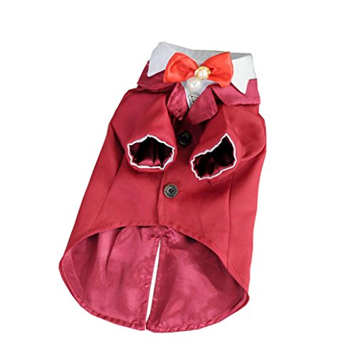 FAPIZI Cute Tuxedo Style Pet Dogs Suit Coat Small Puppy Dogs Clothes (XL, Red) ()