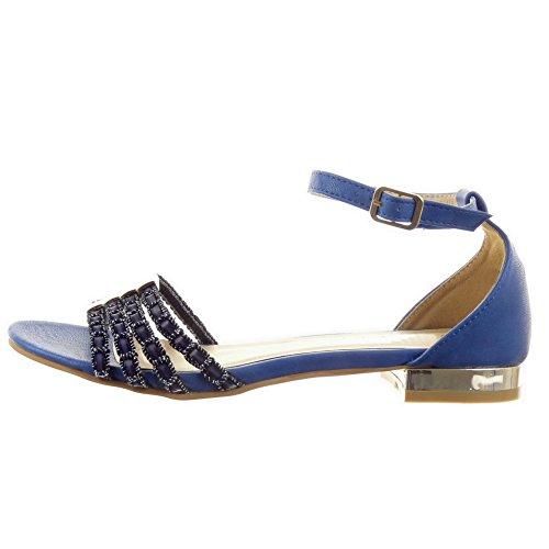 Sopily - Zapatillas de Moda Sandalias Caña baja mujer acabado costura pespunte metálico Líneas Talón Tacón ancho 1.5 CM - Azul