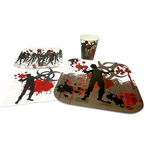 Blue Orchards Zombie Standard Party Packs (65+ Pieces for 16 Guests!), Zombie Party Supplies, Birthdays, Tableware -