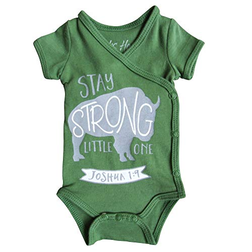 Boys Preemie Onesie-100% Organic Cotton-Stay Strong Little One-Joshua 1:9 NICU Nurse Approved Clothing Army Green
