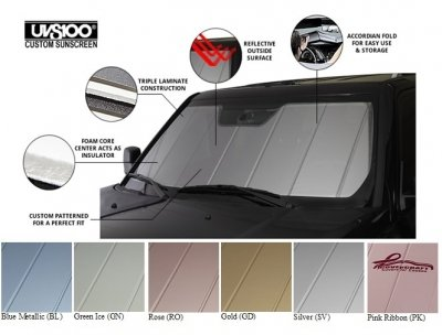 Covercraft UVS100 - Series Custom Fit Windshield Shade for Select Chevrolet Pickup 1500 Models - Triple Laminate Construction (Blue Metallic)