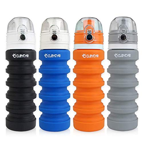 CLEYCYE Collapsible Water Bottle Silicone BPA Free/Lightweight/Eco-Friendly, Portable Travel Colapsable Water Bottle for Kids/Adults, Sports Water Bottle Leakproof with Hook FDA Approved, Gray
