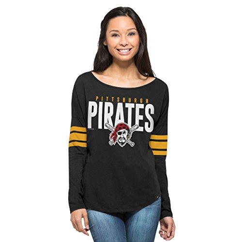 MLB Pittsburgh Pirates Women's '47 Courtside Long Sleeve Tee, Jet Black, Large