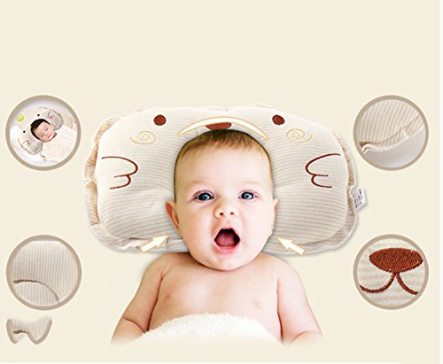 Cartoon Baby Pillow Head Shaping Newborn Pillow For Sleeping Breathable Washable Prevent Flat Head Syndrome Cotton Infant Pillow,Apricot,30X22Cm/11.82X8.67 by Lemonkids®