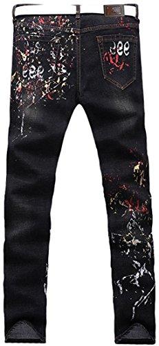 Mjb050 Jeansian Uomini Casual Pantaloni black Stampa Denim Jeans Uomo Moda Sottile Tendenze qHa4vqg