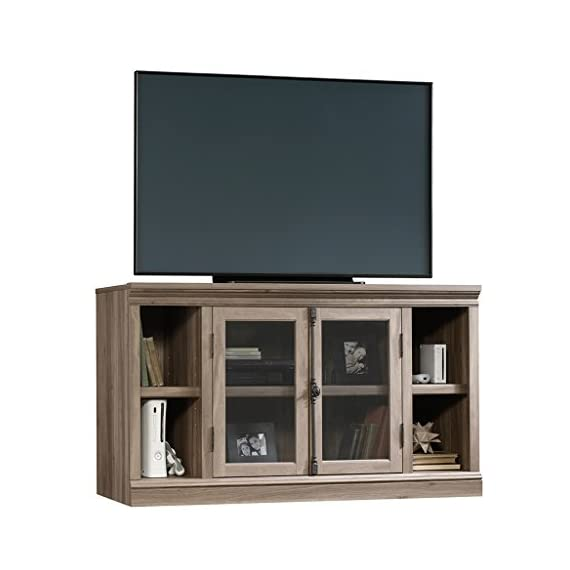 """Sauder Barrister Lane Entertainment Credenza, For TVs up to 60"""", Salt Oak finish - Accommodates up to a 60"""" TV weighing 95 lbs. or less Large adjustable shelf behind framed, safety-tempered Glass doors holds audio/video equipment Two small adjustable shelves - tv-stands, living-room-furniture, living-room - 410D54AJ6BL. SS570  -"""
