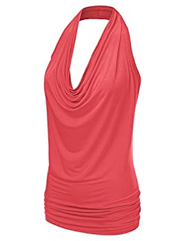Ninexis Women's Halter Neck Draped Front Open Back Top Coral M 1