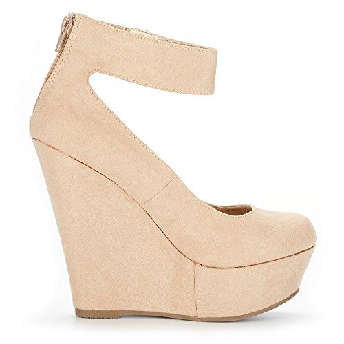 Women's Height Elegant Platform Ankle DREAM Rear Heel Shoes Nude Wedge Closure Ankle Strap Zipper Pumps PAIRS 5FTwnqA
