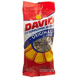 DAVID SEEDS Roasted and Salted Original Sunflower Seeds, Keto Friendly, 1.625 Oz, 12 Pack 8 Contains twelve 1.625 ounce bags of DAVID Original Sunflower Seeds, great for group and solo snacking Stay in the game with these roasted and salty seed snacks, packed with flavor Grab a bag of DAVID's sunflower seeds for a delicious and crunchy snack on the go