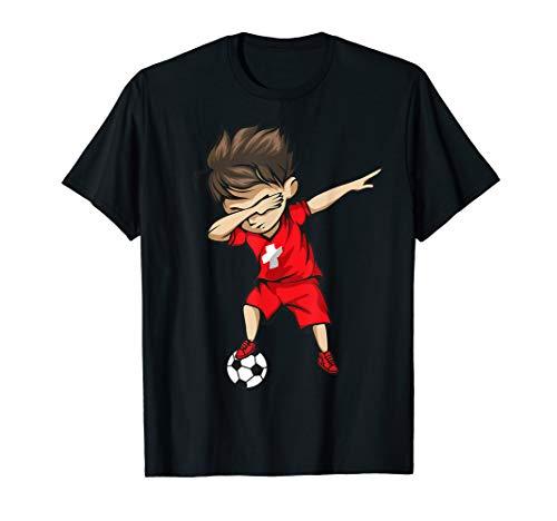 (Dabbing Soccer Boy Switzerland Jersey Shirt - Swiss Football)
