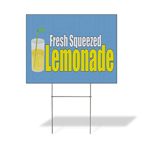 Plastic Weatherproof Yard Sign Fresh Squeezed Lemonade Yellow Glass of Lemonade Lemonade Stands White Fresh for Sale Sign Multiple Quantities Available 18inx12in One Side Print One Sign