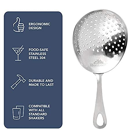 Julep Strainer: Professional Stainless Steel SS304 Cocktail Strainer for Home or Commercial Bar