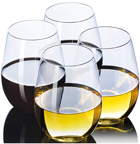 Stemless Wine Glasses By CLASSWARE | 100% TRITAN | Premium Quality | BPA FREE Shatterproof Unbreakable Crystal Clear Wine Tumbler Glasses | Dishwasher Safe | 16 Oz Set of 4 in a Gift Box