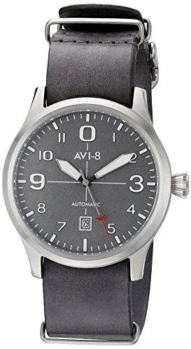AVI-8 Men's 'Flyboy' Japanese Automatic Stainless Steel and Grey Leather Aviator Watch (Model: AV-4021-0B)