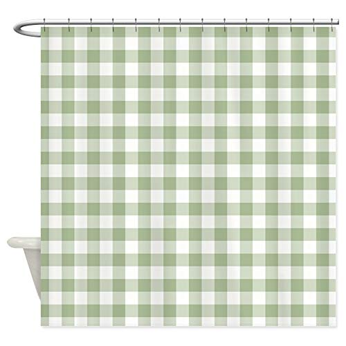 CafePress Sage Green Gingham Checked Pattern Decorative Fabric Shower Curtain (69