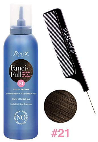 Roux FANCI-FULL Instant Color Mousse, Haircolor Foam with No Ammonia, No Peroxide, No Damage (w/Sleek Comb) Fancy Hair Dye Conditioning (Plush Brown #21)