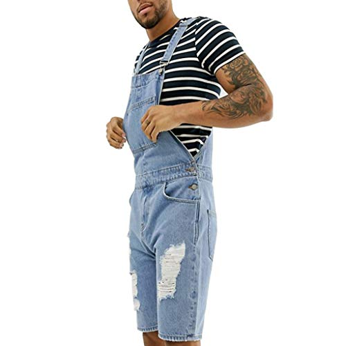 Casual Jeans Overall for Men, Huazi2 Plus Size Pocket Jumpsuit Suspender Pants Blue