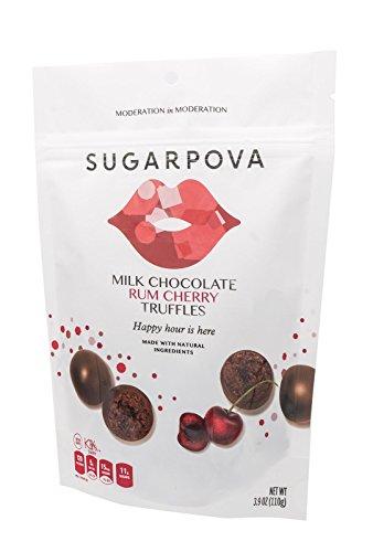 Chocolate Rum - Sugarpova Milk Chocolate Rum Cherry Truffles, 6 Count Case