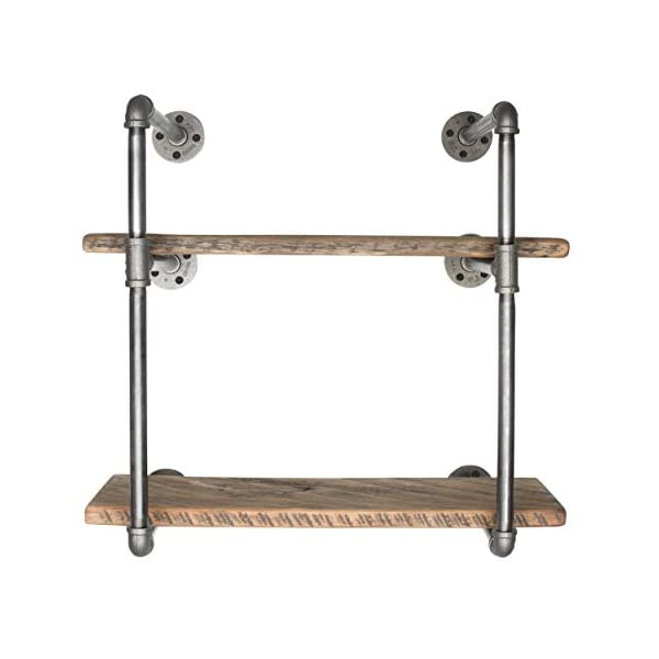 Pipe Decor 2 Tier Industrial Shelving, Vintage Iron DIY Unit, Rustic Wall Mounted Hanging Bookshelf, Perfect for Garage… 5