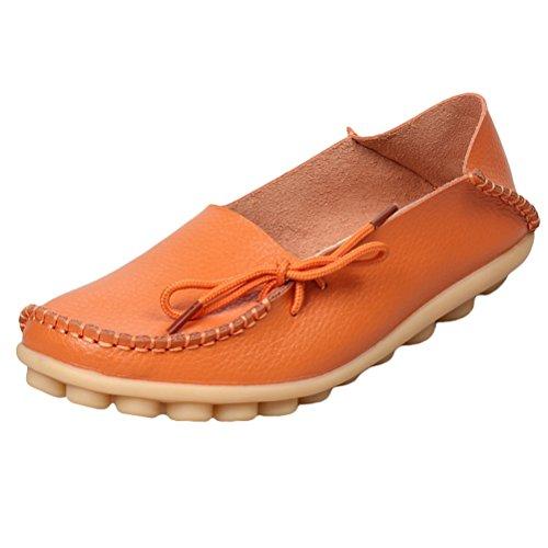 Flach Rétro Cuir Femme Chaussures Pumpe Style1 Casual Orange MatchLife q7OBwTxtZZ