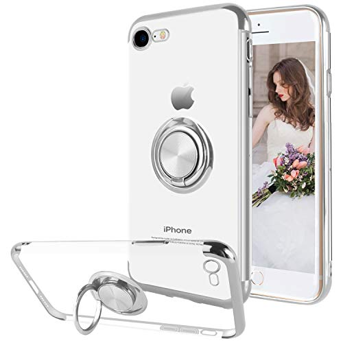 Ownest Compatible with iPhone 7 Case, iPhone 8 Case with Built-in 360 Rotatable Ring Kickstand Fit Magnetic Car Mount and Clear Transparent Soft TPU for iPhone 7/iPhone 8-(Silver)