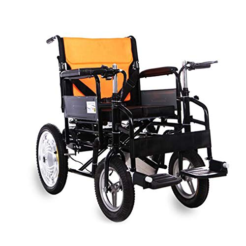 - ZBB Electric Wheelchair Deluxe Foldable Compact Mobility Aid Wheel Chair Double Handle Brake Carbon Steel Power Wheelchair Suitable for Disabled