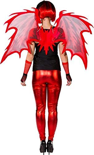 Ladies Red Fire Devil Demon Hell Halloween Flames Horror Fancy Dress Costume Outfit Accessory -