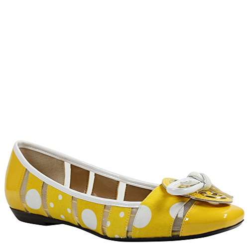 Polka Dot Fabric Flats - J. Renee Women's Edie,Yellow/White Polka Dot Fabric,US 8.5 W