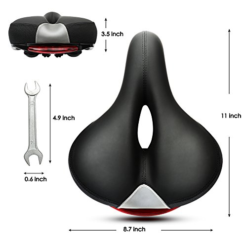 Inofia Comfort Bike Seat Professional Bicycle Saddle, GEL Memory Foam, Dual Shock Absorbing Ball, LED Taillight, Waterproof Artificial Leather with Wrench and Clamp