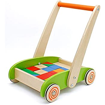 london-kate Deluxe Childrens Roll Cart with Blocks - Wooden Push and Pull Toy Activity Baby Walker