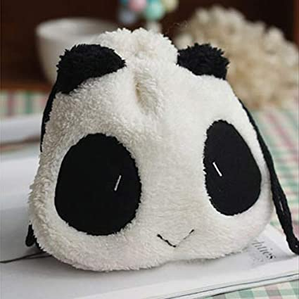 Yanbirdfx O4Cute Fluffy Flush Panda Coin Purse Pouch Makeup Cosmetic Drawstring Storage Bag