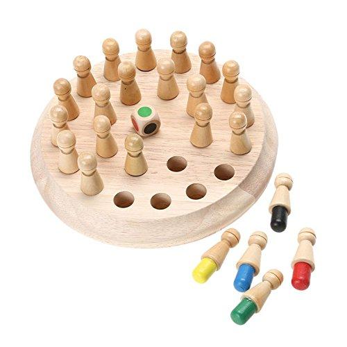 TOOGOO 1 juego Juego de ajedrez palo de partido de memoria de madera Rompecabezas 3D educativo temprano de ninos Rompecabezas juego informal de fiesta familiar 148602