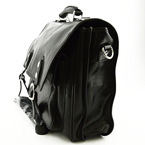 Maletín Profesional En Piel Verdadera 2 Compartimentos Color Negro - Peleteria Echa En Italia - Business