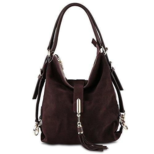 Nico Louise Women Genuine Suede Leather Purse Backpack Leisure Shoulder Bag Casual Tassel Handbag (Deep (Genuine Suede Leather Handbag)