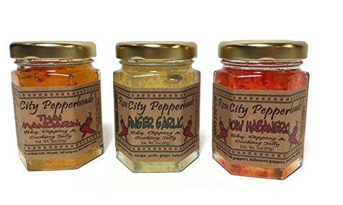 Rose City Pepperheads Chefs Trio Pepper Jelly - Chefs Trio- Holy Habanero, Ginger Garlic, Thai Mandarin - Christmas, Hostess, Secret Santa, Birthday, Get Well Gift (Chef (Ginger Glazed Chicken)