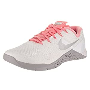 Nike Womens Metcon 3 Training Shoes White/Silver/Bright Melon 849807-102 Size 10
