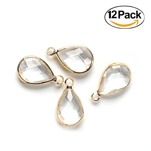Wholesale 12 PCS Waterdrop Teardrop Crystal Glass Pendant April Birthstone Pendant with Gold Plated Bordure Charm Bulk for Jewelry Making - Faceted Pendant Stone