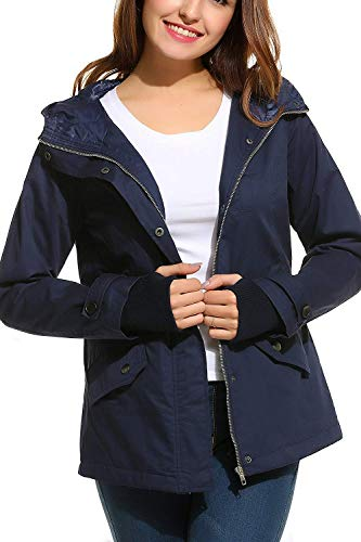 Colori Chiusura Primaverile Cappuccio Cerniera Outerwear Giovane Giubbino Donna Marineblau A Solidi Casuale Di Moda Con Fashion Coulisse Fit Vintage Giacca Mantello Slim Autunno Giubotto qftOaS