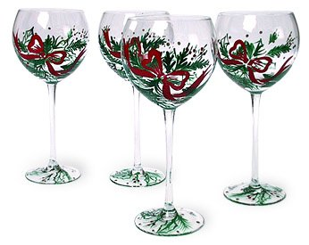 Lenox Holiday Gems Handpainted Balloon Wine Glass, Set of 4 - Lenox Holiday Gems
