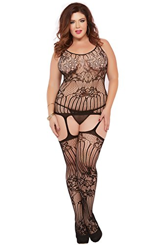 UPC 888208131555, Seven Til Midnight Women's Plus-Size Floral and Swirl Lace Cami Bodystocking, Black, Queen/Small