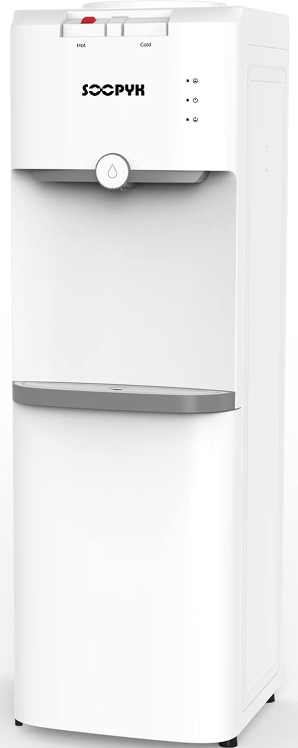 SOOPYK Top Loading Water Dispenser Water Cooler 5 Gallon Hot and Cold Water Dispenser | Child Safety Lock and Storage Cabinet for Home Office Use, White