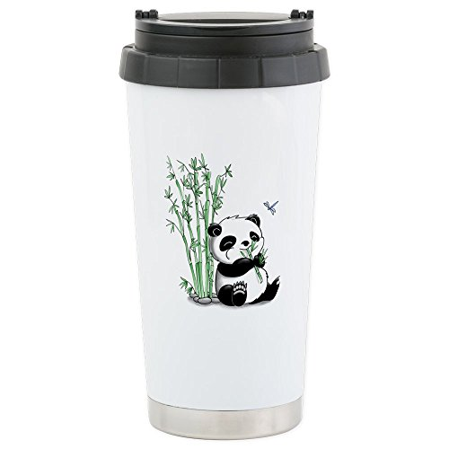CafePress - Panda Eating Bamboo Stainless Steel Travel Mug - Stainless Steel Travel Mug, Insulated 16 oz. Coffee Tumbler by CafePress