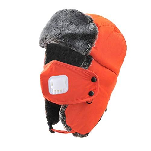 Crytech Unisex Winter Ski Bomber Hat, Windproof Breathable Warm Trapper Cap with Earflap Mask Ushanka Russian Trooper Ski Hat Snow Aviator Hat for Women Men Hunting Skiing Skating (Orange)