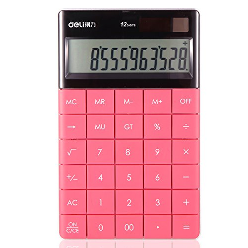Electronic Desktop Calculator with 12-digit Large Display, Solar and Button Dattery Dual Power Standard 12-Digit Big Display Handheld Function Desktop Calculator (Red)