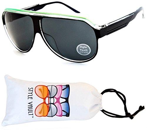 A07-vp Aviator Retro Millionaire Sunglasses (B1626F Black/Green/Clear, - Mens Sunglasses 1970s