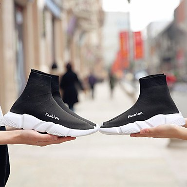 Par de zapatos botas Unisex Materiales personalizados Otoño Invierno exterior de la Oficina &Carrera moda casual botas de tacón bajo el negro 1A-1 3/4 pulg. Black
