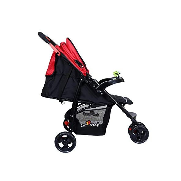 1st Step Jogger Stroller/Pram/ 5 Point Safety Harness/Reversible Handle Bar/Infinity Recline/Extended Canopy with A Peek-A-Boo Window – Black Red